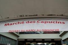 Cover market named Marchè des capucins, in Bordeaux France. Cover market named Marchè des capucins, in Bordeaux France Royalty Free Stock Image