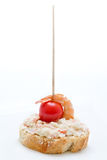 Cover with mayonnaise and shrimp with cherry tomatoes Royalty Free Stock Photography