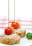 Cover with mayonnaise and shrimp with cherry tomatoes Royalty Free Stock Images