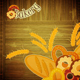 Cover menu for Bakery. Design Cover menu for Bakery - bread on wooden background - Retro card with place for text - illustration royalty free illustration