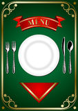 Cover menu - Place Setting. Cover menu: place setting - plate, forks, spoon and knifes on the green background Stock Photos