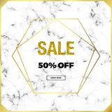 Cover minimalist placard, white marble or stone texture with gold lines border and glitter sale. Luxury templates for designs, ban. Ner, card, flyer, invitation vector illustration