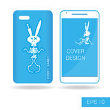 Cover mobile smartphone dancing funny rabbit skeleton in cartoon style  on white background. Vector illustration Royalty Free Stock Image