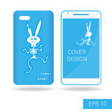 Cover mobile smartphone dancing funny rabbit skeleton in cartoon style  on white background. Vector illustration Stock Photo