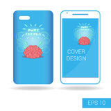 Cover mobile smartphone with funny human brain and electric lightning in cartoon style  on white background Royalty Free Stock Photos