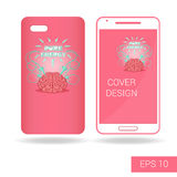 Cover mobile smartphone with funny human brain and electric lightning in cartoon style  on white background Stock Images