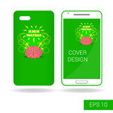 Cover mobile smartphone with funny human brain and electric lightning in cartoon style  on white background Stock Photos