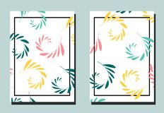 Cover with multicolored sprigs on white backdrop. Two floral vector templates of flyers. A4 format. Art can be used for placard, flyer, banner stock illustration