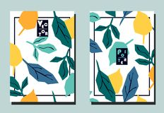 Cover with multicolored tropical leaves on white backdrop. Yellow, turquoise, blue, orange colors. Two floral vector templates of flyers. A4 format. Art can be royalty free illustration