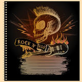 Cover for notebook with, hand drawing, vector illustration. Cover for notebook with Rock and roll skull guitar, hand drawing, vector illustration Royalty Free Stock Photography