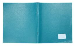The cover of an ordinary student`s notebook is made of blue arti Stock Photo