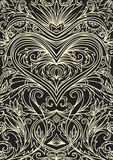 Cover ornament pattern playing cards or book. Ornate heart on black background. Stock Photography