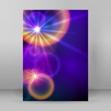 Cover page A4 brochure blue background blur circle stars. Advertising flyer party design elements. Purple background with elegant graphic blur bright light stock illustration