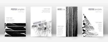 Cover page design template. Geometric brochure lay. Out. Bizarre trendy abstract cover page. Black and white grunge texture background. Incredible poster royalty free illustration