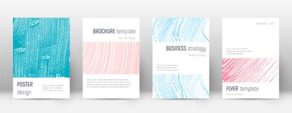 Cover page design template. Minimalistic brochure. Layout. Comely trendy abstract cover page. Pink and blue grunge texture background. Awesome poster royalty free illustration