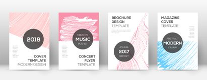 Free Cover Page Design Template. Modern Brochure Layout. Comely Trendy Abstract Cover Page. Pink And Blue Royalty Free Stock Photography - 122355347