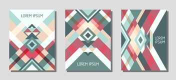 Cover page layout vector template geometric design with triangles and stripes pattern. Stock Image