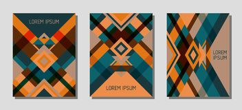 Cover page layout vector template geometric design with triangles and stripes pattern. Stock Photography