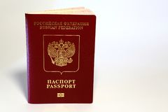 Cover and pages of a foreign passport of a citizen of the Russia. N Federation with the coat of arms of Russia Royalty Free Stock Photo