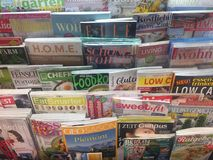 Cover pages of magazines for sale royalty free stock photo