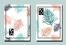 Cover with palm tropical leaves on white backdrop. Two floral vector templates of flyers. A4 format. Art can be used for placard, flyer, banner royalty free illustration