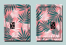 Cover with palm turquoise and white leaves on pink backdrop. Two floral vector templates of flyers. A4 format. Perfect for cover design, brochure, posters stock illustration