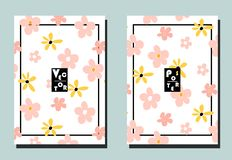 Cover with pink and yellow flowers on white backdrop. Two floral vector templates of flyers. A4 format. Art can be used for placard, flyer, banner stock illustration
