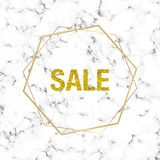 Cover placard glitter sale, minimalist white marble or stone texture with gold lines border. Luxury template for designs, banner,. Card, flyer, invitation stock illustration