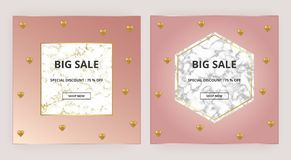Cover placard sale white marble or stone texture and pink background with gold hearts. Templates for your designs, banner, card,. Flyer, invitation, party royalty free illustration
