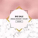 Cover placard sale white marble or stone texture and pink foil texture. Trendy geometric poster. Templates for your designs, banne. R, card, flyer, invitation stock illustration