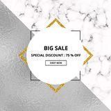 Cover placard sale white marble or stone texture and silver foil texture. Trendy geometric poster. Templates for your designs, ban. Ner, card, flyer, invitation royalty free illustration