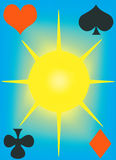 Cover of playing cards. Illustration raster, cover for the playing cards on a blue background Royalty Free Stock Images