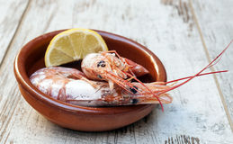 Cover prawns with lemon Royalty Free Stock Photo