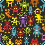 Cover print with pixel monsters. Coloful vector card vector illustration