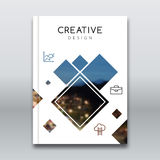 Cover report brochure colorful pilygonal geometric design background, cover flyer magazine, brochure book cover template Royalty Free Stock Photography