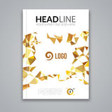 Cover report colorful gold triangle geometric prospectus design background, cover flyer magazine, brochure book cover. Template layout, vector illustration Royalty Free Stock Photography