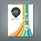 Cover report colorful lines shapes infographic. Cover report colorful lines shapes info-graphic with point markers icons design background,  illustration Stock Photo