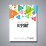Cover report colorful triangle geometric pattern. Design background, cover magazine, brochure book cover template, vector illustration Royalty Free Stock Images