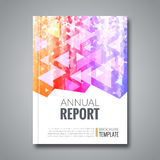 Cover report colorful triangle geometric pattern. Design background, cover magazine, brochure book cover template, vector illustration Royalty Free Stock Photo