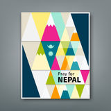 Cover Report colorful triangle geometry pray for Nepal Stock Photography