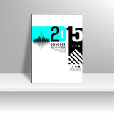 Cover Report number 2015 and silhouette building Royalty Free Stock Images
