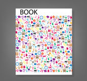 Cover report school background with media icons,  illustra Royalty Free Stock Photos