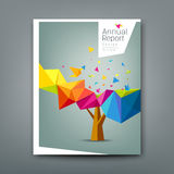 Cover report tree colorful geometric with bird paper Royalty Free Stock Image