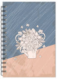 Cover retro design with bouquet of the notebook Stock Photos