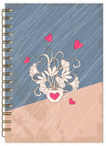 Cover retro design with hearts of the notebook Royalty Free Stock Photos