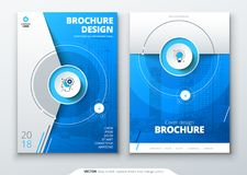 Cover set. Blue template for brochure, banner, plackard, poster, report, catalog, magazine, flyer etc. Modern circle royalty free illustration