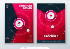 Cover set. Magenta template for brochure, banner, plackard, poster, report, catalog, magazine, flyer etc. Modern circle. Shape abstract background Creative royalty free illustration