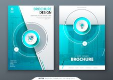 Cover set. Teal template for brochure, banner, plackard, poster, report, catalog, magazine, flyer etc. Modern circle vector illustration