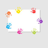 Cover sheet with prints of childrens hands. Cover sheet with a prints of childrens hands Royalty Free Stock Images