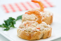 Cover shrimp with crab and mayonnaise tapa Stock Images